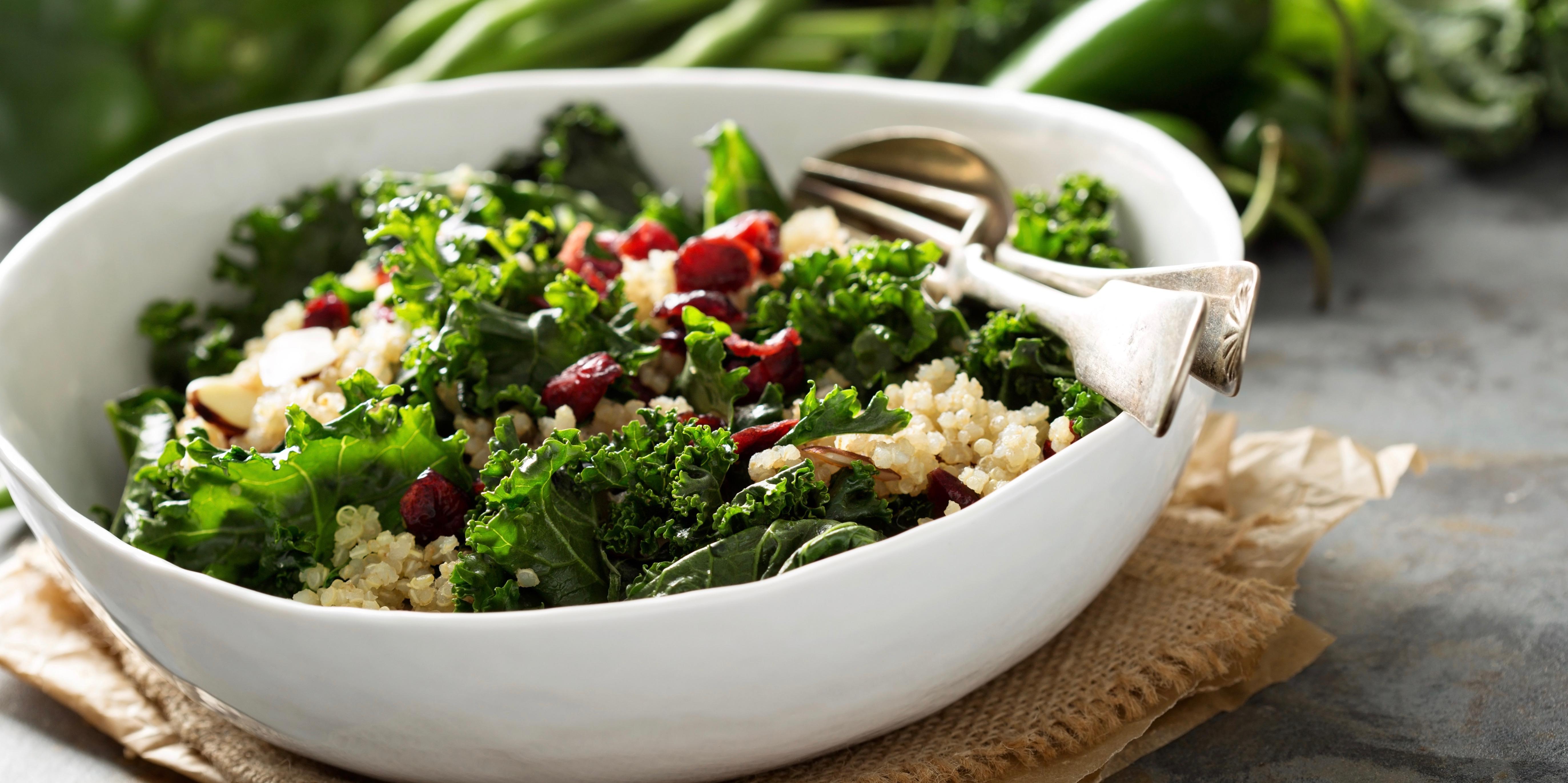 Kale, quinoa and pomegranate salad photo
