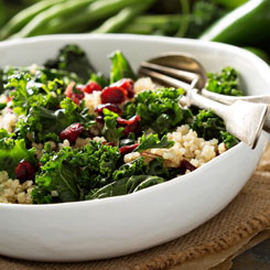 Kale, quinoa and pomegranate salad photo