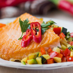 Poached salmon with salsa, snow peas & green beans photo