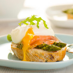 Poached eggs & smoked salmon photo