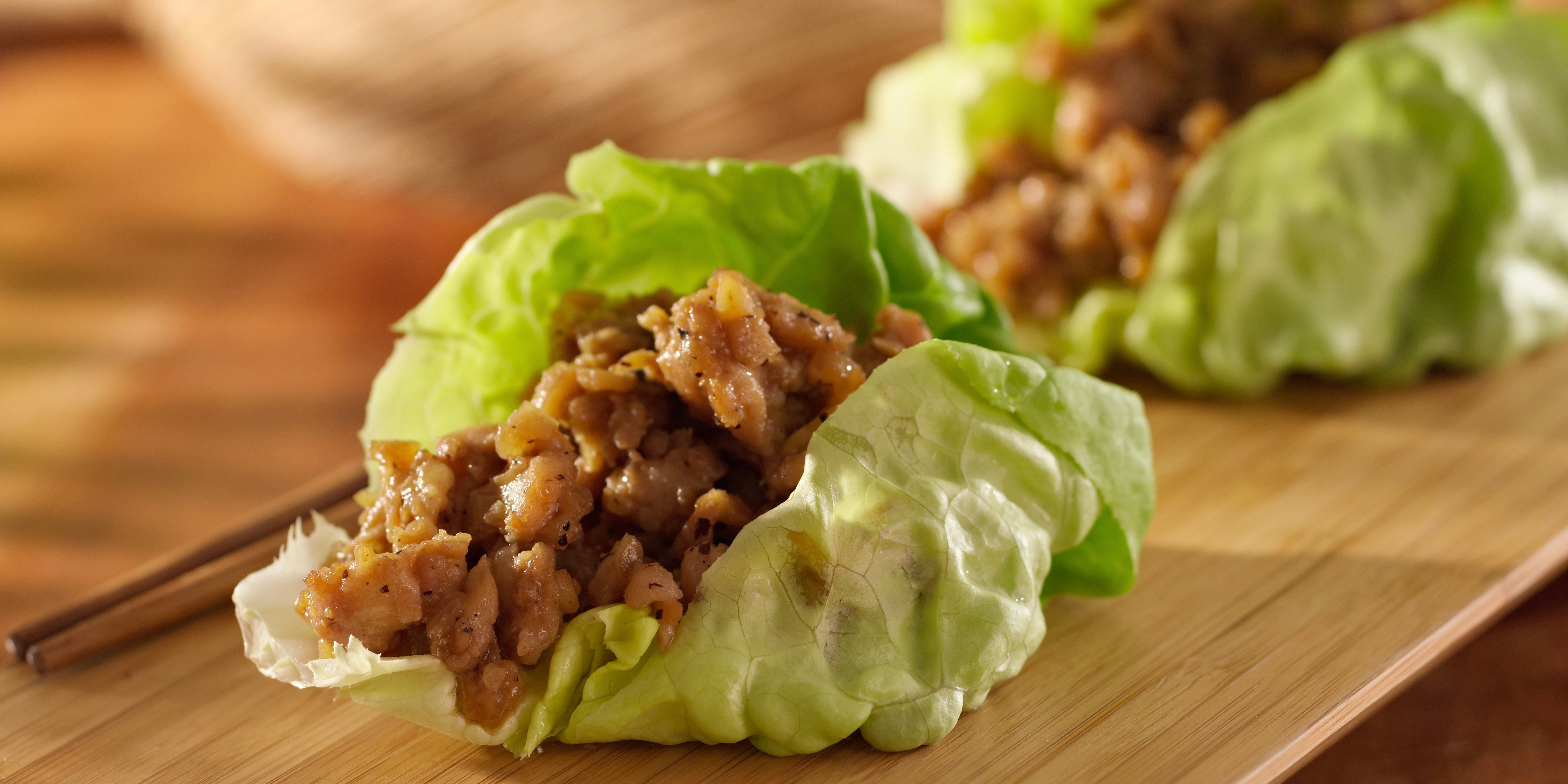 Warm Thai chicken lettuce wraps photo