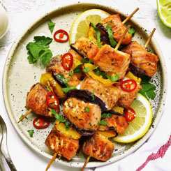 Grilled Fish and Vege Kebabs photo