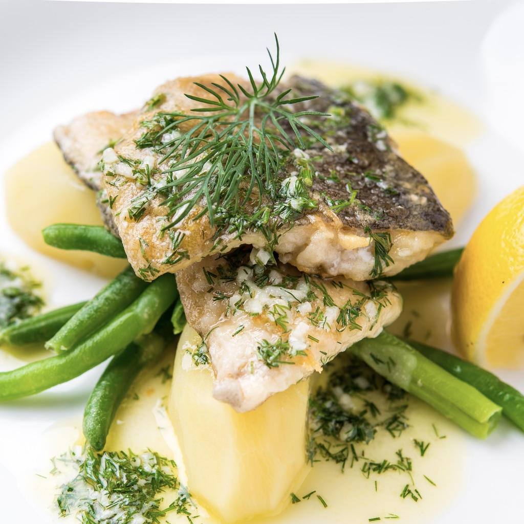 Pan-fried white fish fillets with salsa verde photo
