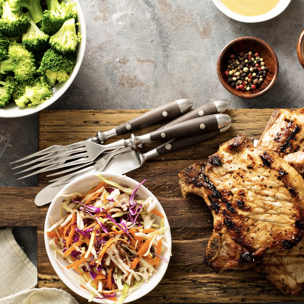 Sauté pork with red cabbage, pear & pine nuts photo