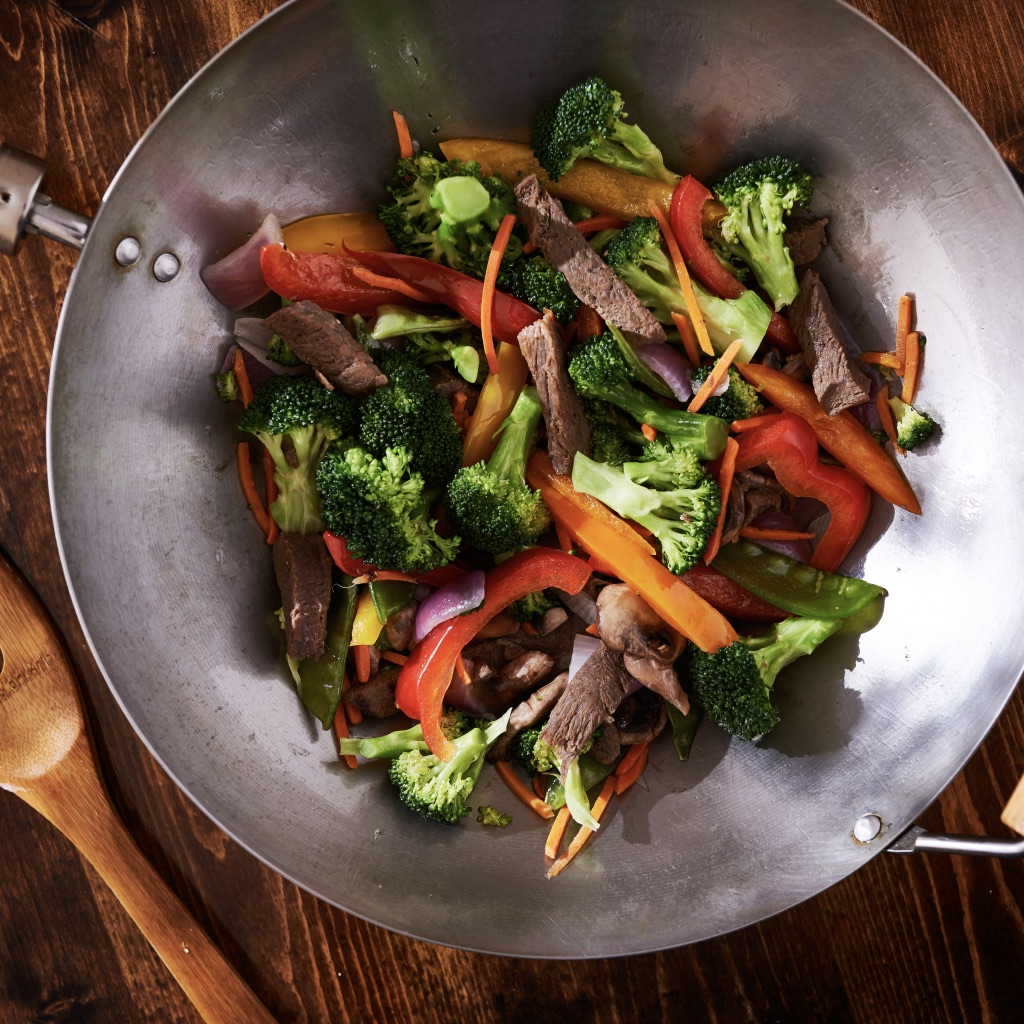 Stir-fried beef with shiitake and Asian greens photo