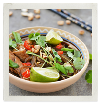 Warm chicken vermicelli salad with Asian greens photo