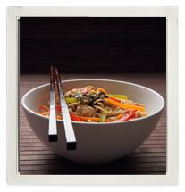 Soba noodles with shredded chicken, ginger & lime photo