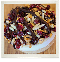 Cranberry and almond protein cheesecake photo
