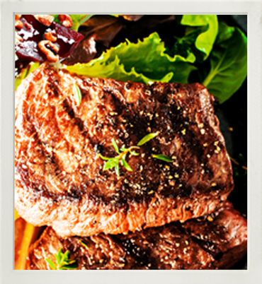 Grilled beef steaks with roast beetroot & walnuts photo
