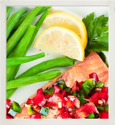 Poached salmon with salsa, snow peas & green beans photo