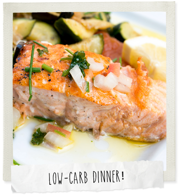 Roast salmon fillet with zucchini ribbons photo
