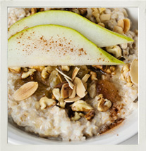 IsoWhey winter oats with pear, cinnamon and crushed nuts photo