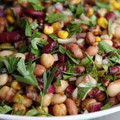 Mixed Bean Salad with dressing photo
